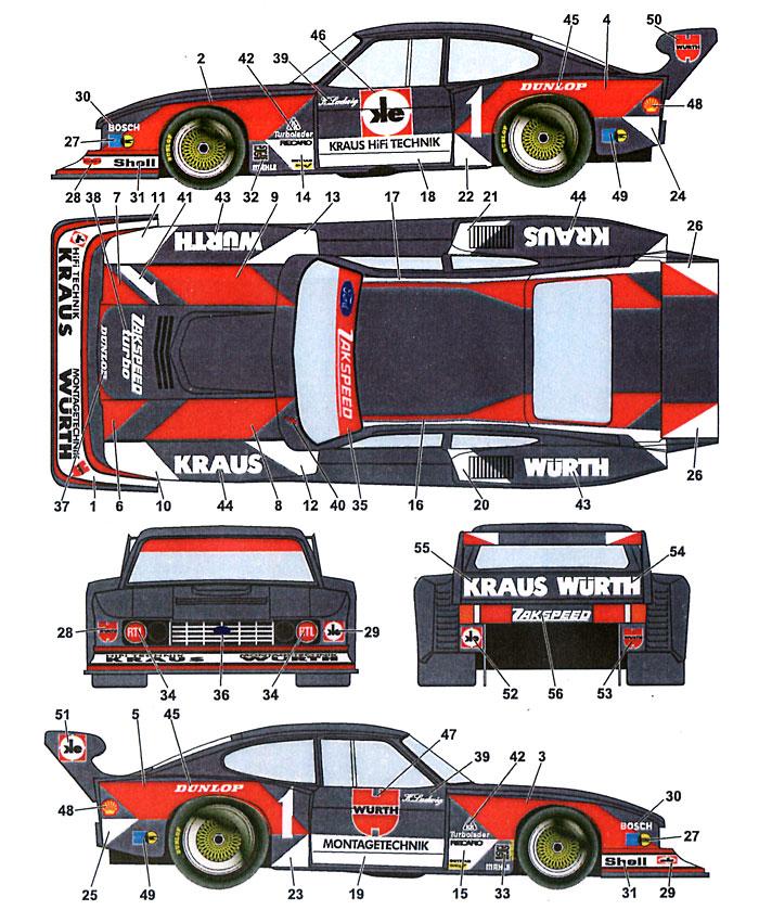 フォード カプリ ウルト (ブラックカー)デカール(スタジオ27ツーリングカー/GTカー オリジナルデカールNo.DC700C)商品画像_2