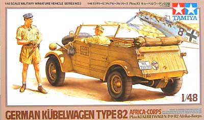 Pkw.K1 キューベルワーゲン 82型 (アフリカ仕様)プラモデル(タミヤ1/48 ミリタリーミニチュアシリーズNo.003)商品画像