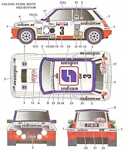 ルノー R5 ターボ Sodicam ツール・ド・コルサデカール(スタジオ27ラリーカー オリジナルデカールNo.DC707C)商品画像_2