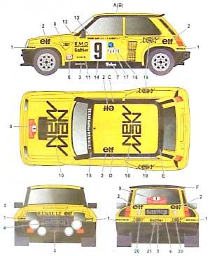 ルノー 5 ターボ ニューマン モンテカルロ '82デカール(スタジオ27ラリーカー オリジナルデカールNo.DC712C)商品画像_2