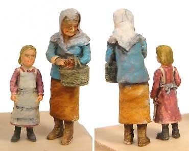 おばあさん & 少女 (2体セット)レジン(紙でコロコロ1/35 TROOPS & PEOPLESNo.1-35-003)商品画像_2