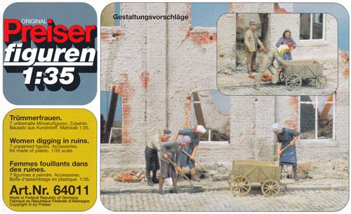 瓦礫を掘る女性・民間人プラモデル(プライザー1/35 精密プラ製フィギュアNo.64011)商品画像