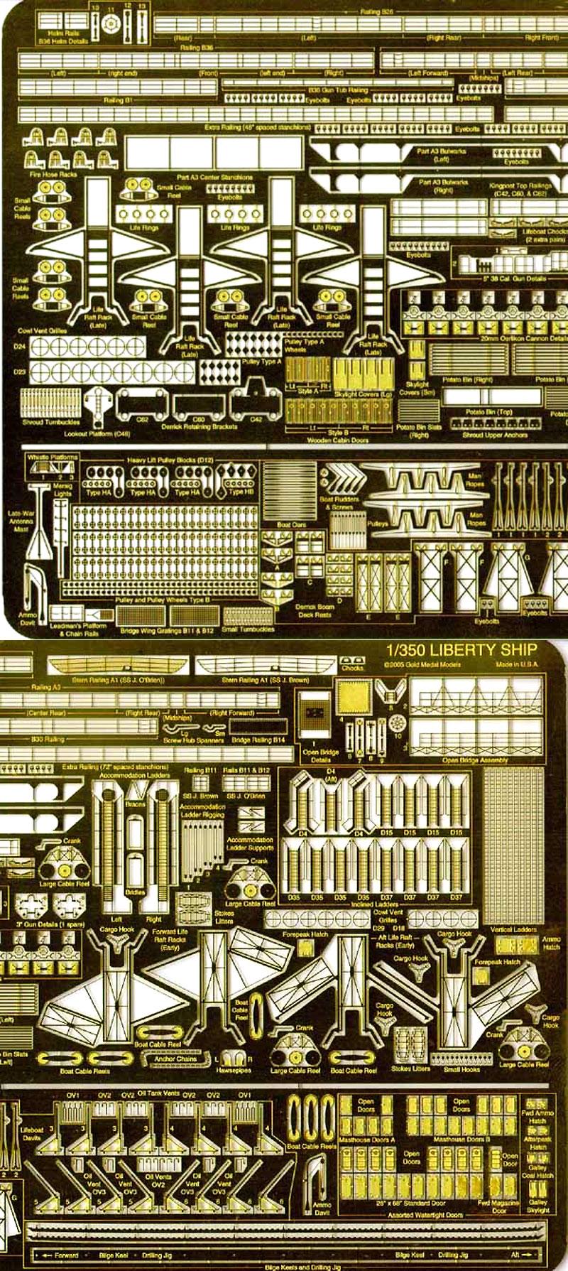 米海軍 輸送艦 リバティーシップ用エッチング(ゴールドメダルモデル1/350 艦船用エッチングパーツシリーズNo.GM-3531)商品画像_2