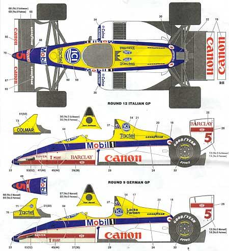 ウイリアムズ FW12 '88トランスキット(スタジオ27F-1 トランスキットNo.TK2020C)商品画像_2