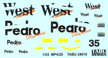 マクラーレン メルセデス MP4/20対応 WEST タバコデカールデカール(タブデザイン1/24 デカールNo.TABU-24010)商品画像
