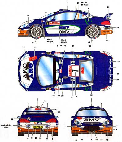 プジョー 307 WRC #7 OMV モンテカルロ 2006 デカールデカール(スタジオ27ラリーカー オリジナルデカールNo.DC734C)商品画像_2