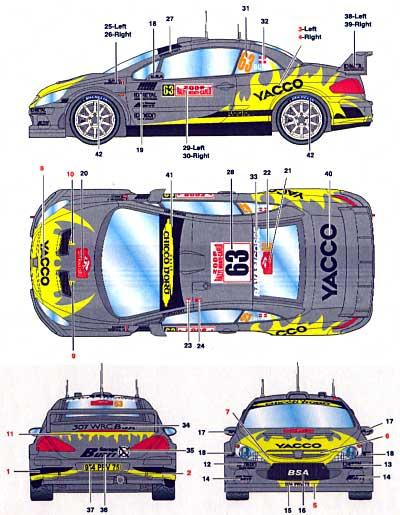 プジョー 307WRC #63 YACCO モンテカルロ 2006デカール(スタジオ27ラリーカー オリジナルデカールNo.DC736C)商品画像_2