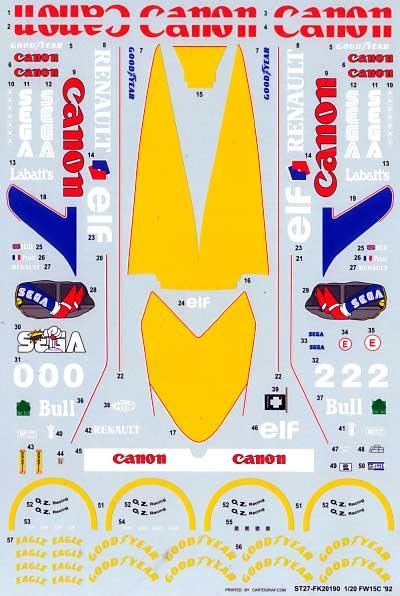 ウィリアムズ FW15C スペアデカールデカール(スタジオ27F-1 オリジナルデカールNo.SDF20190)商品画像