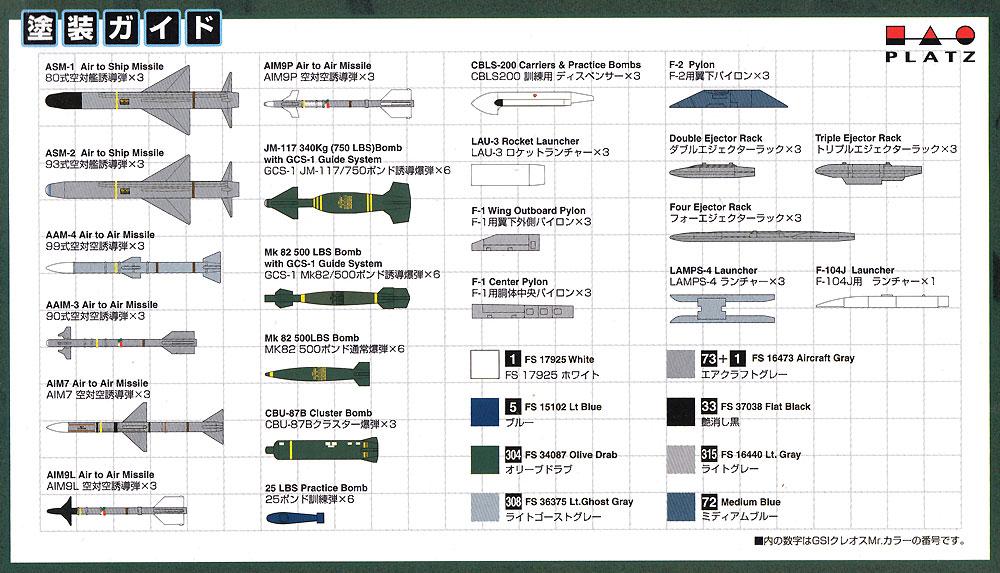 航空自衛隊機用ウエポンセットプラモデル(プラッツ1/144 自衛隊機シリーズNo.PF-009)商品画像_2