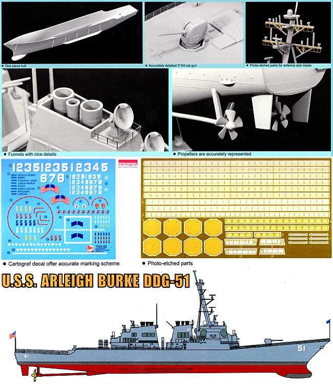 U.S.S. アーレイ バーク DDG-51プラモデル(ドラゴン1/350 Modern Sea Power SeriesNo.1023)商品画像_1