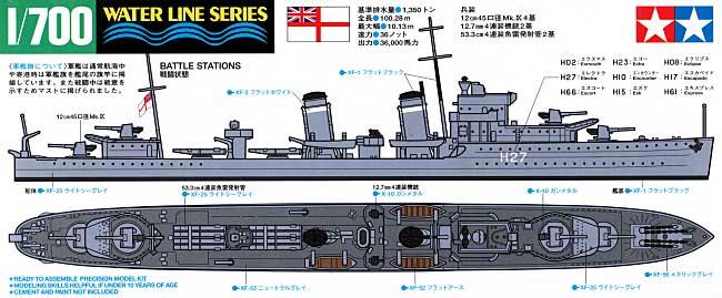 イギリス海軍 駆逐艦 E級プラモデル(タミヤ1/700 ウォーターラインシリーズNo.909)商品画像_1