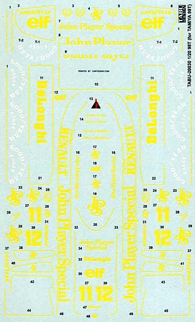 ロータス 98T フルスポンサーデカールデカール(タブデザイン1/20 デカールNo.TABU-20030)商品画像