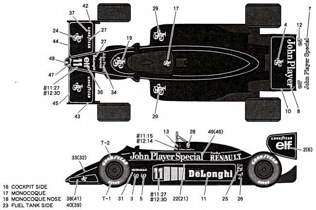 ロータス 98T フルスポンサーデカールデカール(タブデザイン1/20 デカールNo.TABU-20030)商品画像_1