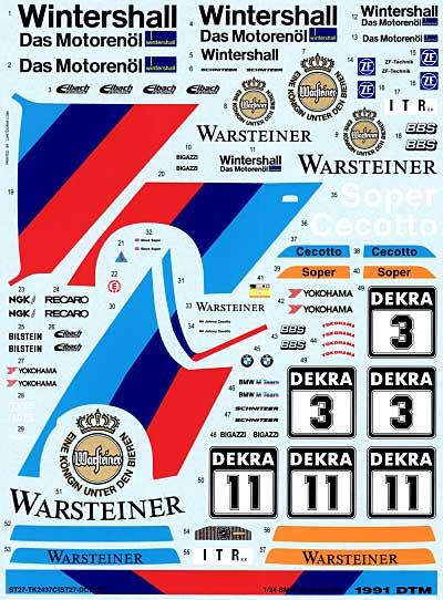 BMW M3 Sport Evo. 1991 DTM デカールデカール(スタジオ27ツーリングカー/GTカー オリジナルデカールNo.DC751C)商品画像