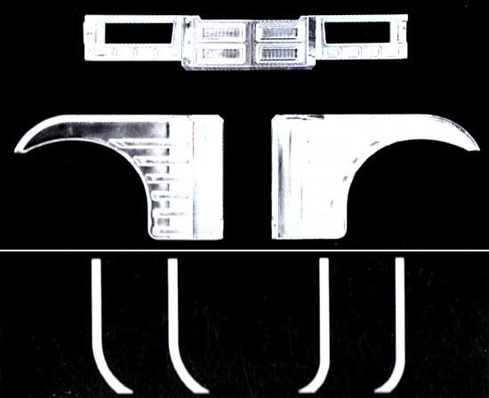 4t用鉄仮面グリル & 排水ホースプラモデル(アオシマ1/32 デコトラアートアップパーツNo.029)商品画像_1