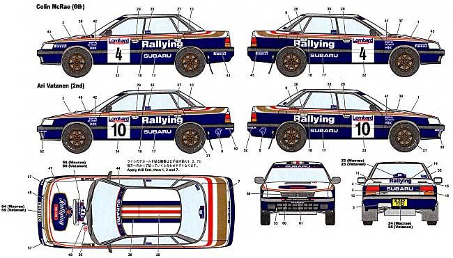 スバル レガシィ RS Rallying 1992 RACラリーデカール(スタジオ27ラリーカー オリジナルデカールNo.DC755C)商品画像_1