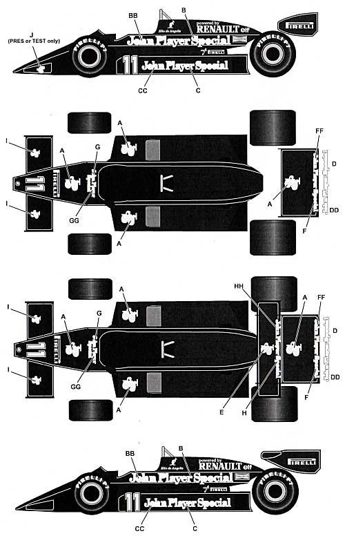 ロータス 93T ルノー用 タバコデカールデカール(タブデザイン1/20 デカールNo.TABU-20043)商品画像_1