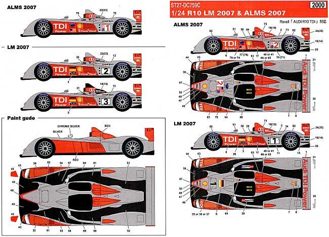 アウディ R10 ル・マン 2007 & アメリカ ル・マン シリーズ 2007デカール(スタジオ27ツーリングカー/GTカー オリジナルデカールNo.DC759C)商品画像_1