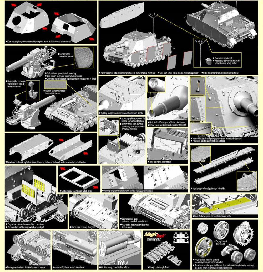 Sd.Kfz.166 4号突撃榴弾砲 ブルムベア 中期型 (2in1)プラモデル(ドラゴン1/35 39-45 SeriesNo.6460)商品画像_2