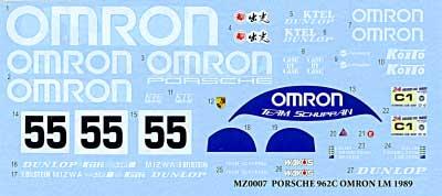 ポルシェ 962C OMRON LM1989デカール(MZデカールミニッツレーサー対応 オリジナルデカールNo.MZ0022)商品画像