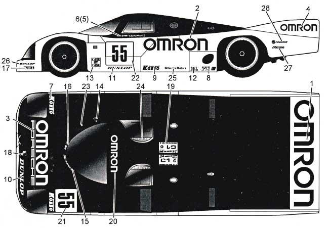 ポルシェ 962C OMRON LM1989デカール(MZデカールミニッツレーサー対応 オリジナルデカールNo.MZ0022)商品画像_1