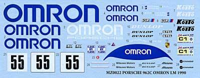 ポルシェ 962C OMRON LM 1990デカール(MZデカールミニッツレーサー対応 オリジナルデカールNo.MZ0023)商品画像