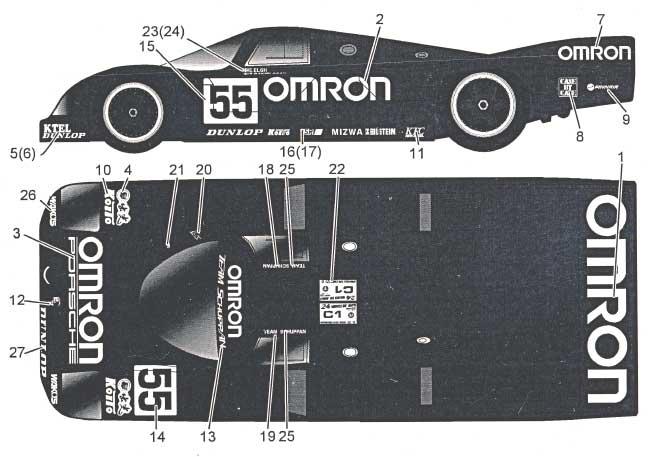 ポルシェ 962C OMRON LM 1990デカール(MZデカールミニッツレーサー対応 オリジナルデカールNo.MZ0023)商品画像_1