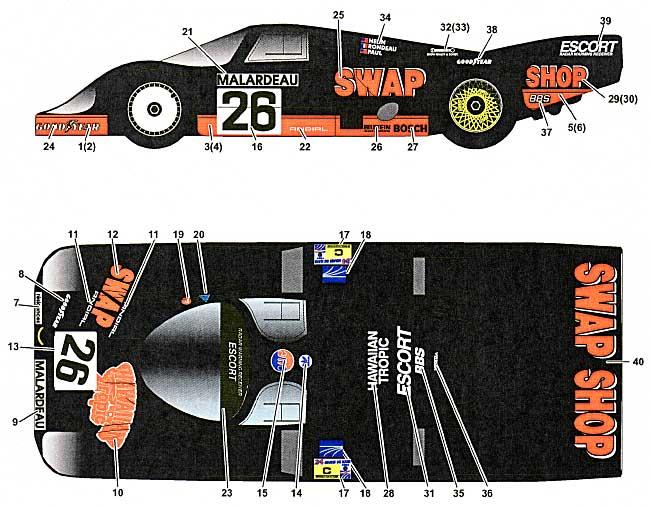 ポルシェ 956 SWAP SHOP  ル・マン 1984デカール(スタジオ27ツーリングカー/GTカー オリジナルデカールNo.DC773)商品画像_1