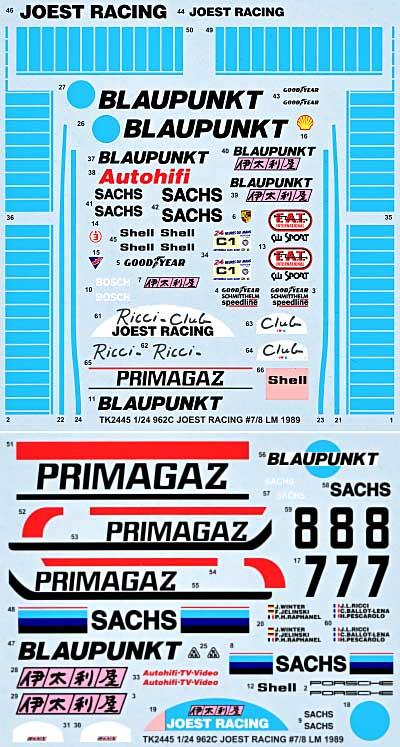 ポルシェ 962C JOEST ル・マン 1989 スペアデカールデカール(スタジオ27ツーリングカー/GTカー オリジナルデカールNo.SDT-2445)商品画像