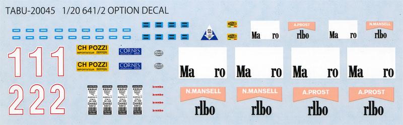 フェラーリ 641/2 オプションデカールデカール(タブデザイン1/20 デカールNo.TABU-20045)商品画像_1