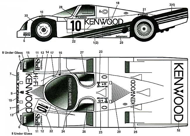 ポルシェ 962C KENWOOD ル・マン 1987年用 デカールデカール(MZデカールミニッツレーサー対応 オリジナルデカールNo.MZ0028)商品画像_1