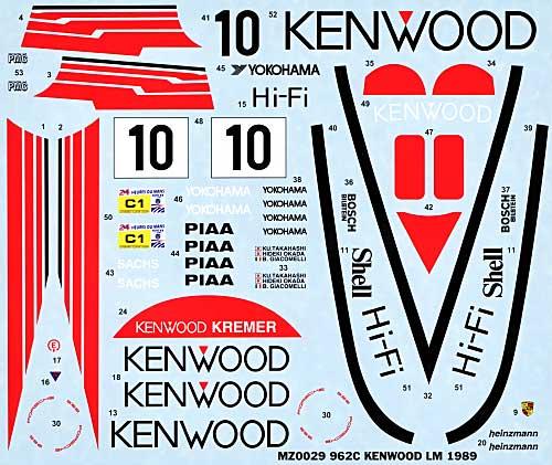 ポルシェ 962C KENWOOD ル・マン 1988年用 デカールデカール(MZデカールミニッツレーサー対応 オリジナルデカールNo.MZ0029)商品画像