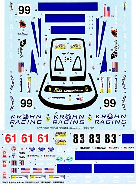 フェラーリ F430GT Risi Competizione ル・マン/アメリカ ル・マン 2008 #83/#61 スペアデカールデカール(スタジオ27ツーリングカー/GTカー オリジナルデカールNo.SDFR2432)商品画像