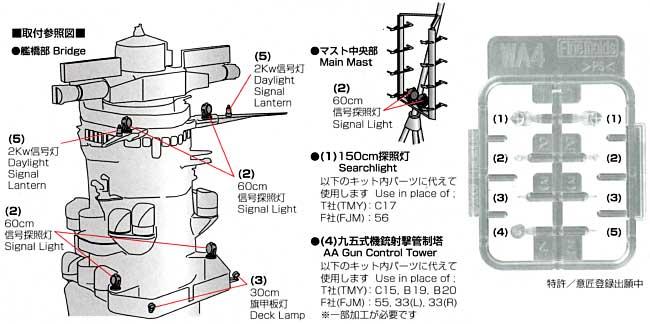大和・武蔵用 探照灯セットプラモデル(ファインモールド1/700 ナノ・ドレッド シリーズNo.WA004)商品画像_1