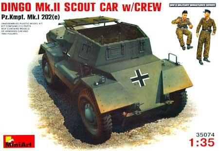 ディンゴ MK2 (Pz.Kpfw.Mk 1 202 (e) ) w/クルー (ドイツ兵フィギュア2体入)プラモデル(ミニアート1/35 WW2 ミリタリーミニチュアNo.35074)商品画像