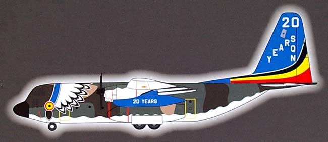 C-130 ハーキュリーズ ベルギー空軍 第20飛行隊 創設20周年 記念塗装機完成品(ホーガンウイングス1/200 完成品モデルNo.6412)商品画像_1