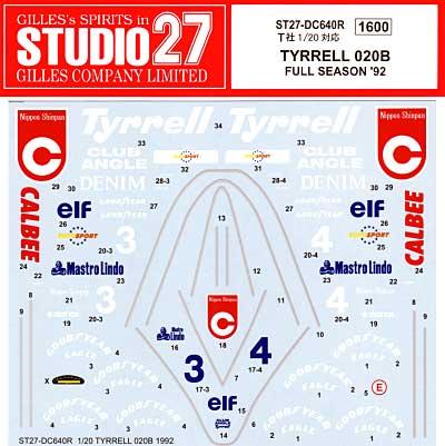 ティレル 020B フルシーズン 1992デカール(スタジオ27F-1 オリジナルデカールNo.DC640R)商品画像