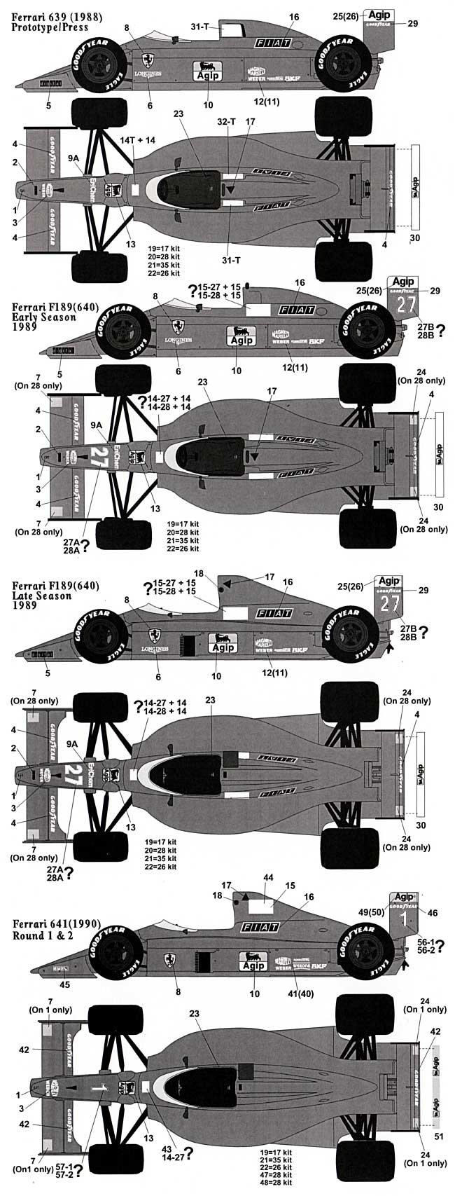 フェラーリ F639(F1 87/88C) 641(F1 89)対応 フルスポンサーデカールデカール(タブデザイン1/20 デカールNo.TABU-20056)商品画像_1