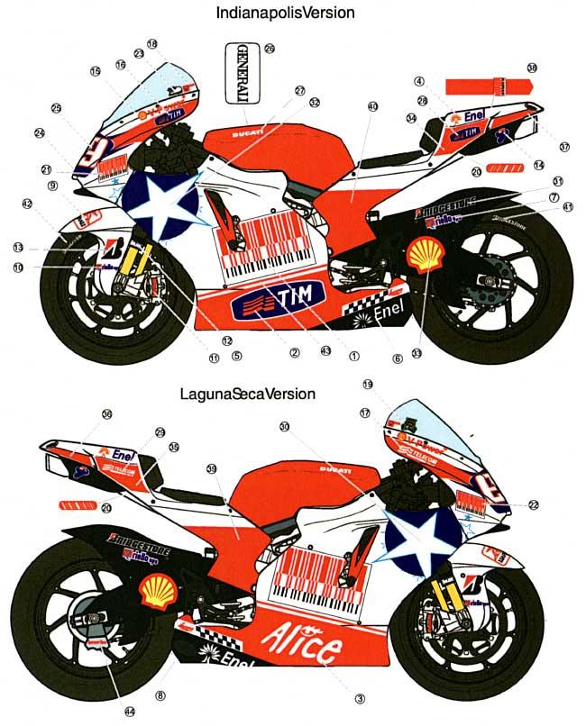 ドゥカティ 2009 N.ヘイデン #69 ラグナセカ & インディアナポリスデカール(スタジオ27バイク オリジナルデカールNo.DC809)商品画像_1