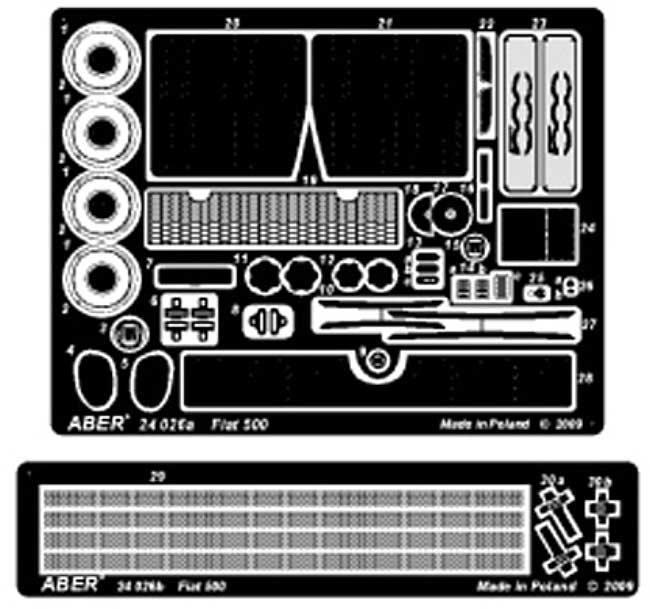 フィアット 500 アップグレードセット (フジミ対応)エッチング(アベール1/24 自動車用 エッチングパーツNo.24026)商品画像_2