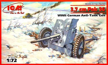 ドイツ 3.7cm Pak 36 対戦車砲プラモデル(ICM1/72 ミリタリービークルNo.72251)商品画像
