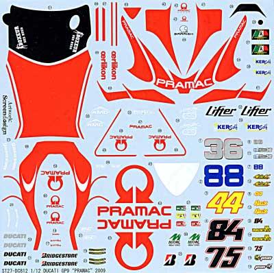 ドゥカティ GP9 PRAMAC RACING 2009デカール(スタジオ27バイク オリジナルデカールNo.DC812)商品画像