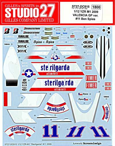 ヤマハ YZR-M1 2009 バレンシアGP ver.#11 Ben Spiesデカール(スタジオ27バイク オリジナルデカールNo.DC815)商品画像