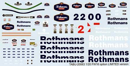 ウイリアムズ FW16 対応 オプションデカール(タブデザイン1/20 デカールNo.TABU-20064)商品画像