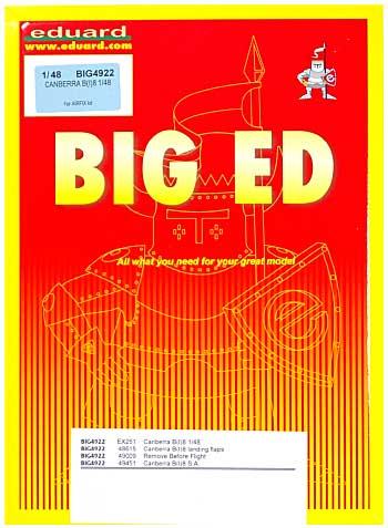 E.E..キャンベラ B(I) 8用 エッチングパーツセット (エアフィックス対応)エッチング(エデュアルド1/48 BIG ED (AIR)No.BIG-4922)商品画像
