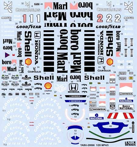 マクラーレン MP4/5 フルスポンサーデカールデカール(タブデザイン1/20 デカールNo.TABU-20066)商品画像