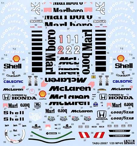 マクラーレン MP4/6 フルスポンサーデカールデカール(タブデザイン1/20 デカールNo.TABU-20067)商品画像