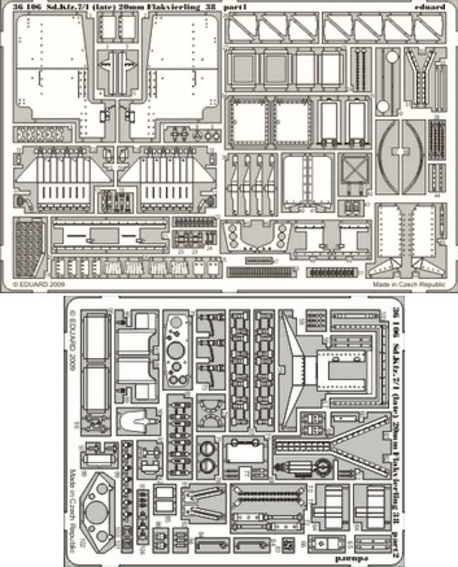 Sd.Kfz.7/1 8トン ハーフトラック 4連装対空機関砲 後期型用 エッチングパーツ (トランペッター対応)エッチング(エデュアルド1/35 AFV用 エッチング (36-×・35-×)No.36-106)商品画像_1
