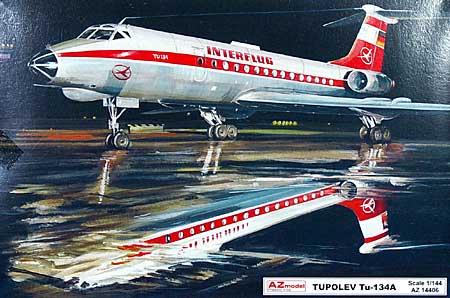 ツポレフ Tu-134 インターフルーク 東ドイツ国営航空プラモデル(AZ model1/144 Airport (エアライナーなど)No.14406)商品画像