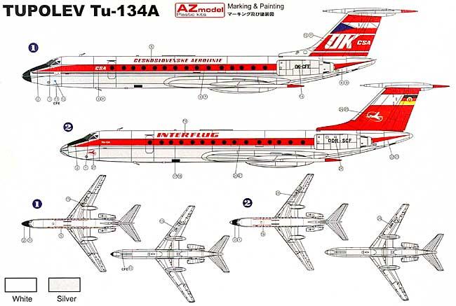ツポレフ Tu-134 インターフルーク 東ドイツ国営航空プラモデル(AZ model1/144 Airport (エアライナーなど)No.14406)商品画像_3